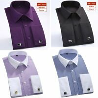 Business Shirts Collar White Cuff French Men's Dress Casual Striped