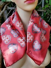 NEW AUTH CHRISTIAN DIOR FRANCE PARIS SILK COTTON SCARF SQUARE HEARTS RED GREY