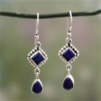 925 Silver Long Blue Lapis Dangle Drop Hook Earrings Bridal Wedding Jewelry Gift