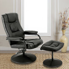 Recliner Chair Armchair With Footstool Swivel Faux Leather Lounge Home Office