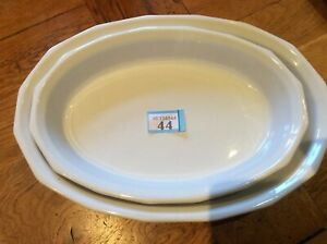 """Emile Henry 2 X Oval Oven To Table Dishes  - White 13.23"""" & 11.5"""" Wide"""