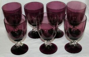 7 Bryce Aquarius Purple Crystal & Amethyst Water Goblets Glass Stemware MINT