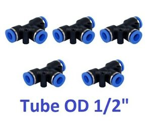 "Tee Union Pneumatic Connector Tube OD 1/2"" Instant Tube Push In Fitting 5 Pieces"