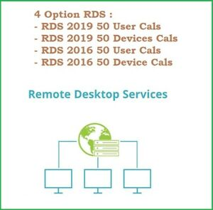 All Host RDS, RDP 4 Option, RDS 2016, 2019 50 User/Devices, Cal / no Cal Std/Dtc