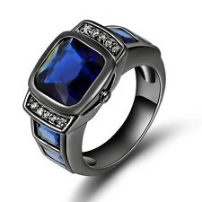 Fantastic Size 12 Men's Blue Sapphire 18K Black Gold Filled Anniversary Ring