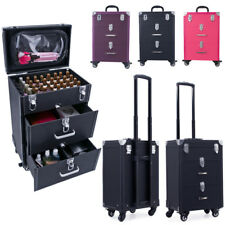 Leather Like Vanity Trolley Case Drawer Makeup Nails Technician Mobile Carry Box