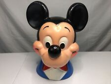 """New listing Vintage 1971 Mickey Mouse Head Bust Plastic Coin Piggy Bank 10"""" Tall"""