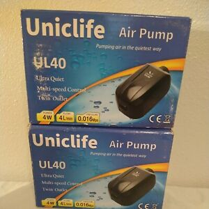 2 Uniclife Air Pump UL40 Twin Outlet Aquarium Pump up to 100 Gallons OPEN BOX