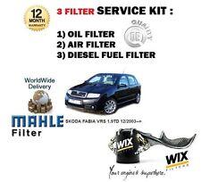 SKODA FABIA VRS 1.9 TD 130BHP 12/2003 > ÖL- LUFT- KRAFTSTOFFFILTER SERVICE KIT