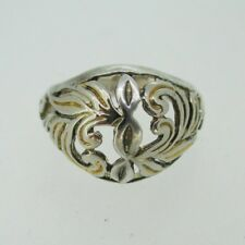 Vintage Sterling Silver Two Tone Filigree Dome Ring Size 6 3/4