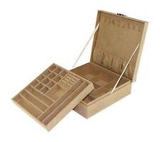 New BEIGE Jewelry Organizer Two-Layer Box Carryon Soft Felt Storage Case Display