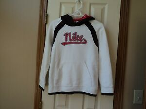 Nike Hooded sweatshirt ~ Youth Large ~ White with red and black ~