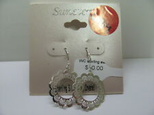 6084 OLD PAWN STERLING SILVER ROUND FILIGREE EARRINGS
