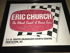 Eric Church Concert Poster From Penticton, BC 2-1-13 Blood Sweat & Beers Tour!!