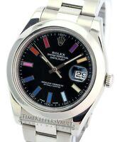 Rolex Datejust Mens II 116300 Black Rainbow Index  Dial Smooth Bezel 41mm Watch