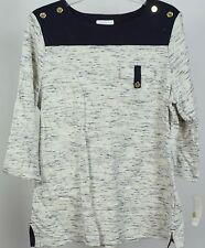 Charter Club Printed Three-Quarter-Sleeve Top/Shirt, Deepest Navy, XL