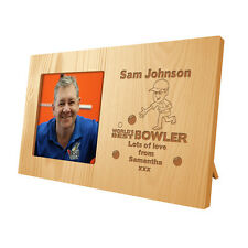 Personalised Mens Grandads World's Best Bowler Wooden Photo Frame Bowling Gift