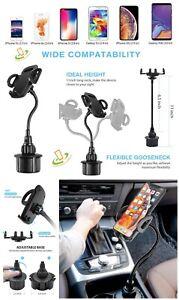 Universal Car Mount Long Adjustable Gooseneck Cup Holder Cradle For Phone Tablet