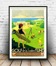 Golf Tunisa , Vintage Travel advertising poster reproduction.