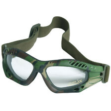 Tactical Patrol Commando Air Pro Goggles Airsoft Clear Lens Woodland Camo Frame