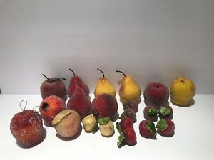 21 Sugared Faux Fruit Apples pomegranates pears figs peach