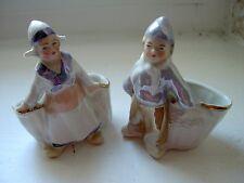 Lot de 2 - Salière saleron ANCIENS porcelaine - époque 1930 - Personnages