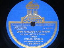 TANGO 78 rpm RECORD Odeon CARLOS GARDEL Tomo y obligo SPAIN Como abrazado