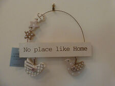Gisela Graham Shabby Chic Wooden 'No Place Like Home' Birds and Stars plaque