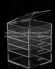 ACRYLIC LUCITE CLEAR CUBE MAKEUP ORGANIZER 4 Drawers Plus Lid