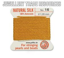 AMBER YELLOW SILK STRING THREAD 1.05mm STRINGING PEARLS & BEADS GRIFFIN SIZE 16