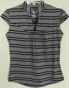 FACE OFF stripe TOP cap sleeve SHIRT black grey & silver highlight ~ Women sz 10