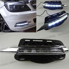 2x White LED DRL Fog Lights Daytime Run Drive Lamps For Mercedes Benz W204 C300
