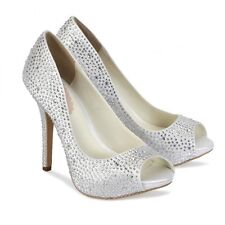 Pink Paradox Luxe Ivory Crystal Platform Shoes Ivory Satin Size 7.5 Brand-New!