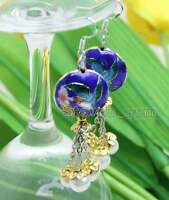 SALE 18mm Blue Round Cloisonne & White 6-7mm Natural Pearl Dangle earring-ear525