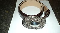 Brighton Tan Leather belt with Ornate Buckle