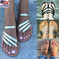 Women's PU Toe Ring Flip Flops Slippers Ladies Summer Strappy Flats Shoes Size