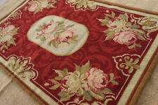 2' X 3' Fine Home Decor Handmade Roses Bouquet European Style Needlepoint Rug #6