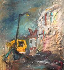 Vintage expressionist gouache painting landscape