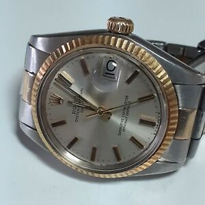 Rolex Date 34 mm Two Tone Silver Dial Automatic Oyster Watch 1500 Circa 1974