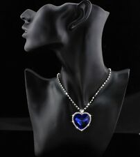 9k Real White Gold Filled Women's/Blue Diamond Heart Shape Necklace&Pend No5 com