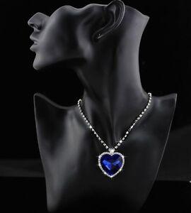 9k Real White Gold Filled Women's/Blue Diamond Heart Shape Necklace&Pend No5 com