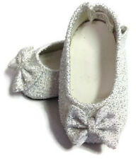 """Silver Glitter Bow Shoes made for 18"""" American Girl Doll Clothes"""