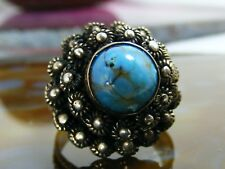 Antique Silver Turquoise Poison Dome Stack RING Size 7 8 9 Hinged Lid
