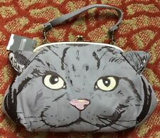 Gray Cat Head Embroidery Shoulder Tote 2Way Bag Rootote Japan NWT