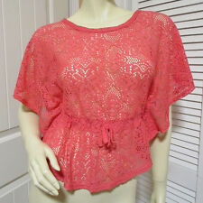 Womens Batwing See Through Lace Top Blouse Kaftan Tops Jr M Orange Red Floral