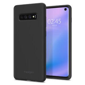 Galaxy S10 S10 Plus S10e Spigen®[Silicone Fit] Black Smooth Soft Case Cover