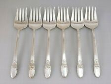 Vintage 1847 Rogers FIRST LOVE Lot of 6 Silverplate Chipped Beef Forks lot #2