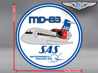 SAS SCANDINAVIAN AIRLINES ROUND PUDGY MD83 MD 83 DECAL / STICKER