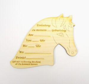 Einladungskarte Holz Pferd zum Beschreiben, Kindergeburtstag Einladung