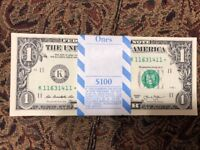 ONE (1) ✯ STAR NOTE SEQUENTIAL $1 Dollar Bill UN-CIRCULATED CRISP from BEP PACK